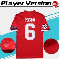 Champions League Player Version home red Soccer Jersey 17/18 #6 POGBA Soccer Shirt Customized #11 MARTIAL #19 RASHF football uniform Sales