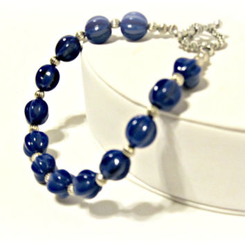 Dark Blue Fluted Bead Bracelet - Navy Bracelet