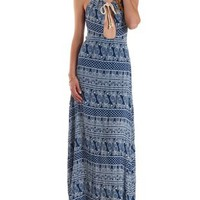 White/Blue Plunging Rope Halter Maxi Dress by Charlotte Russe