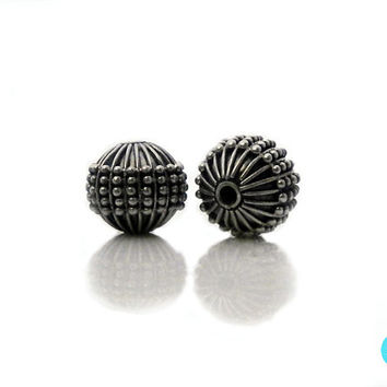 Two 10mm 925 Sterling Silver Bali Beads, Two (2) x Sterling Silver Beads Handmade in Bali, 4.22 grams