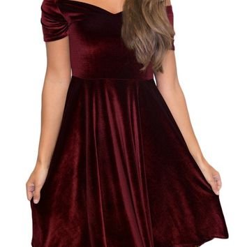 Burgundy Off Shoulder Velvet Skater Dress