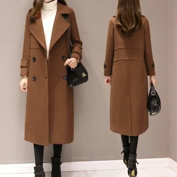 Womens Long Double Breasted Coat in Brown