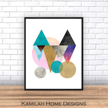 Geometric Abstract, Printable Art, Geometric Art, Geometric Wall Art, Textured, Wall Decor, Abstract Art Print, Instant Download