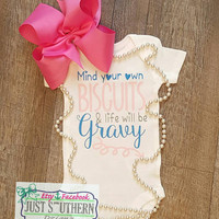 Mind Your Own Biscuits & Life Will Be Gravy Arrow Onesuit Baby Girl Boy Toddler Youth Funny Cute Newborn Outfit Bring Home Hospital