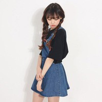 Preppy Style Denim A-line Skirts with Suspenders