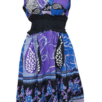 Womens Bohemian Dress V-neck Floral Printed Cotton Colorful Peasant Dresses
