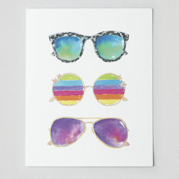 Perspectives in Print Sunglasses Print , Multi