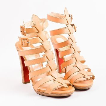 DCCK2 Christian Louboutin Beige Leather Platform Neronna Gladiator Sandals