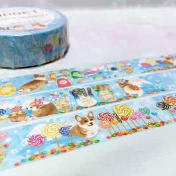 cute puppy lollipop candy washi tape 10M x 1.5cm corgi dog fairy tale candy world masking tape manet farm animal sticker tape dog gift decor