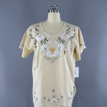Vintage 1970s Mexican Embroidered Tunic / Cream Ivory Floral / Oaxacan