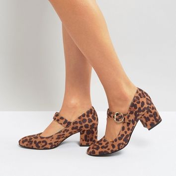 London Rebel Mid Heel Leopard Mary-Jane Shoe at asos.com