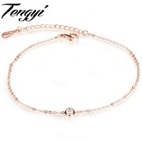 TENGYI Newest Rose Gold Plated Anklets Fashion Women Crystal Foot Chan  Bracelet Party Gift Bangle 2 Pcs A  Lot Jewelry TY013