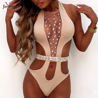 Joyfunear High-quality New Women deep v neck Pattern Bodysuit Hollow Out Crystal Beach Wear One-piece Maillot De Bain Rompers