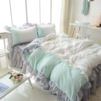 Romantic princess single double cotton bedding set girl,twin full queen king green home textile bed dress duvet cover pillowcase