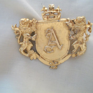 "vintage ""A"" Family Crest with lions brooch pin"