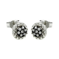 Sterling Silver Rhodium Plated Round Earrings