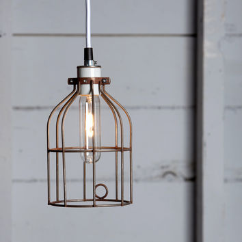 Industrial Pendant Lighting - Vintage Rusted Wire Cage Light