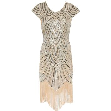 Gatsby Dress 1920s Flapper Dress Women Sequin Handmade Embellished Fringe Dress Dance Gatsby Costumes Vintage Party Dress