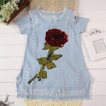 Sweet Girl's Short Sleeve Sequined Rose Pattern Hollow Out Denim Dress