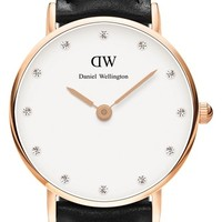 Women's Daniel Wellington 'Classy Sheffield' Crystal Index Leather Strap Watch, 26mm