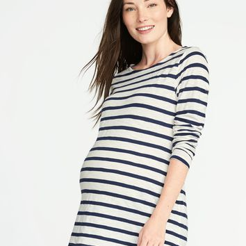 Maternity Relaxed Striped Boat-Neck Tee | Old Navy