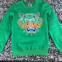 """Kenzo"" Unisex Fashion Casual Long-Sleeved Couple Printed Round Neck Tiger Head Embroidery  Top"