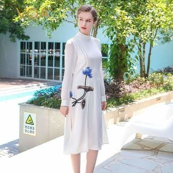 Voa Summer Heavy Silk White Embroidery Dress Chinese Style Plus Size Brief Elegant Vintage Long Sleeve Tees Dress Bla00501