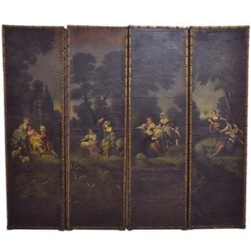 18th Century French Hand-Painted Four-Panel Leather Screen from Lyon