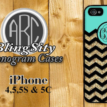 Mint Gold Iphone 6 Case Glittery Chevron iPhone 4 5 5C Case Zig Zag Monogram Personalized Cover Rubber Silicone Not Actual Glitter