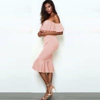 Off Shoulder Ruffle Midi Bandage Dress