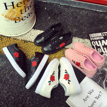Summer Flower Rose Flat Shoes [11686938767]