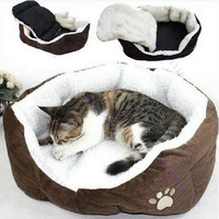 Pet Dog Puppy Cat Soft Fleece Warm Bed House Plush Cozy Nest Mat Pad 5 Colors