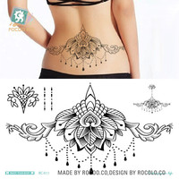 Waterproof Temporary Tattoo sticker body art henna waist breast chest mandala tatto stickers flash tatoo fake tattoos for women
