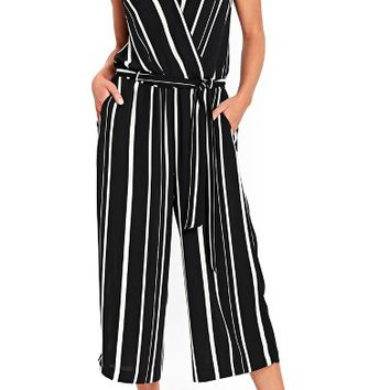 Wallis Stripe Faux Wrap Crop Jumpsuit | Nordstrom