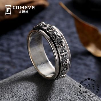 GOMAYA Fine Jewelry Handsome Skull Ring Hot Sale! 100% Real Pure 925 Sterling Silver Vintage Rings for Women Men Lovers Gift