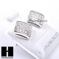 Iced Out Sterling Silver .925 Lab Diamond 8mm Square Push Back Earring SE021S
