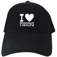 I LOVE Fishing Black Baseball Cap Unisex