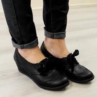 NOT RATED The Countess Black Oxford Wedges