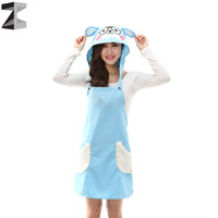 New girl kawaii Delicate Cute sheep ear Kitchen Restaurant Cooking Aprons With Pocket and hat Women anti-oil Blue color