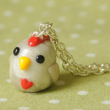 Kawaii Miniature Chicken Polymer Clay by PumpkinPyeBoutique