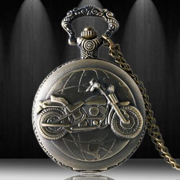 Free Drop Shipping 3D Bronze Motorcycle Design Pocket Watch For Men Women With Necklace Chain
