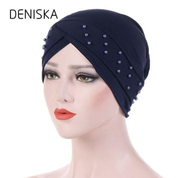 DENISKA Women Beading Side Flower Headwear Headwrap African Head wrap Twist Hair Band India Turban Bandana Bandage Accessories