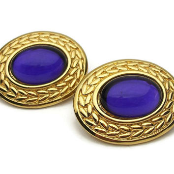 Trifari Purple Cabochon Gold Tone Clip On Earrings - Large Big Royal Purple Glass Textured Gold Clip Ons Signed Vintage Trifari Jewelry