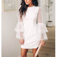 Explosion models sexy round neck mesh lace trumpet sleeve dress female