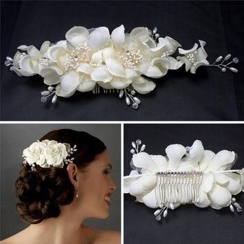 Elegant Girl Soft Pearl Short Bride Barrettes Hair Accessory Fabric Flower Wedding Hair Clip Hair Comb Tiara Ivory