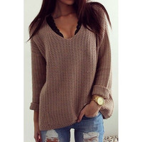 Casual V-Neck Solid Color Long Sleeves Pullover Sweater For Woman