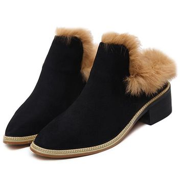 Black Faux Suede Fur Trim Shoes