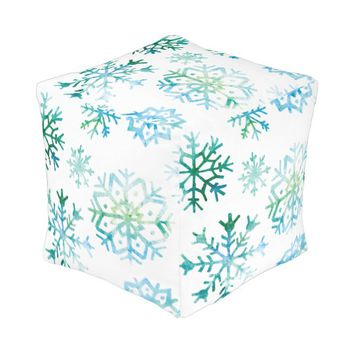 Blue Snowflake Watercolor Art Pouf