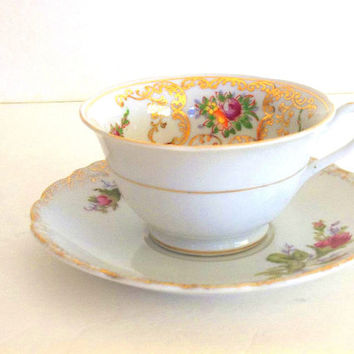 Vintage Footed Teacup and saucer set, Floral Flower gold gilt tea cup roses, gold filigree made in Japan mismatched tea party cup & saucer