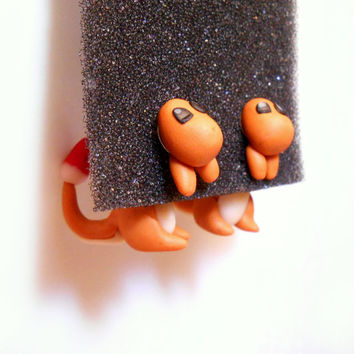 Charmander Clinging Earrings, Two Piece Earrings, Pokemon Earrings, Two Part Earrings, Charmander earring Sterling silver 925